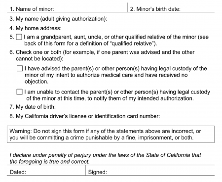 6552 Caregivers Authorization Affidavit Form